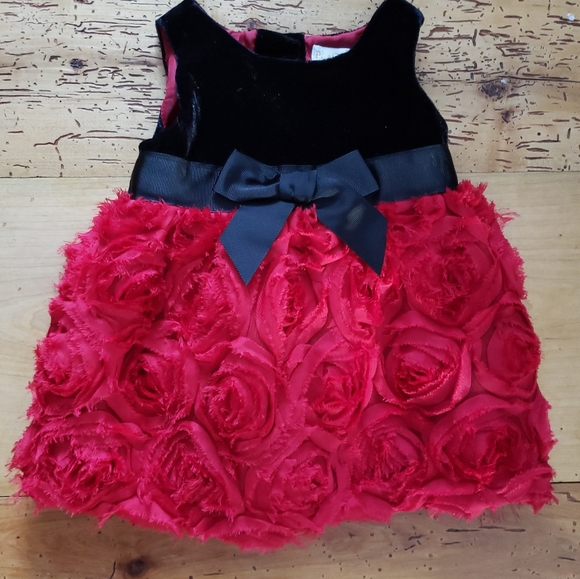6-9mth Fancy Holiday Dress + Diaper Cover